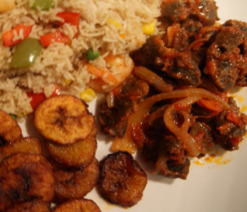 fried rice with gizzard and dodo