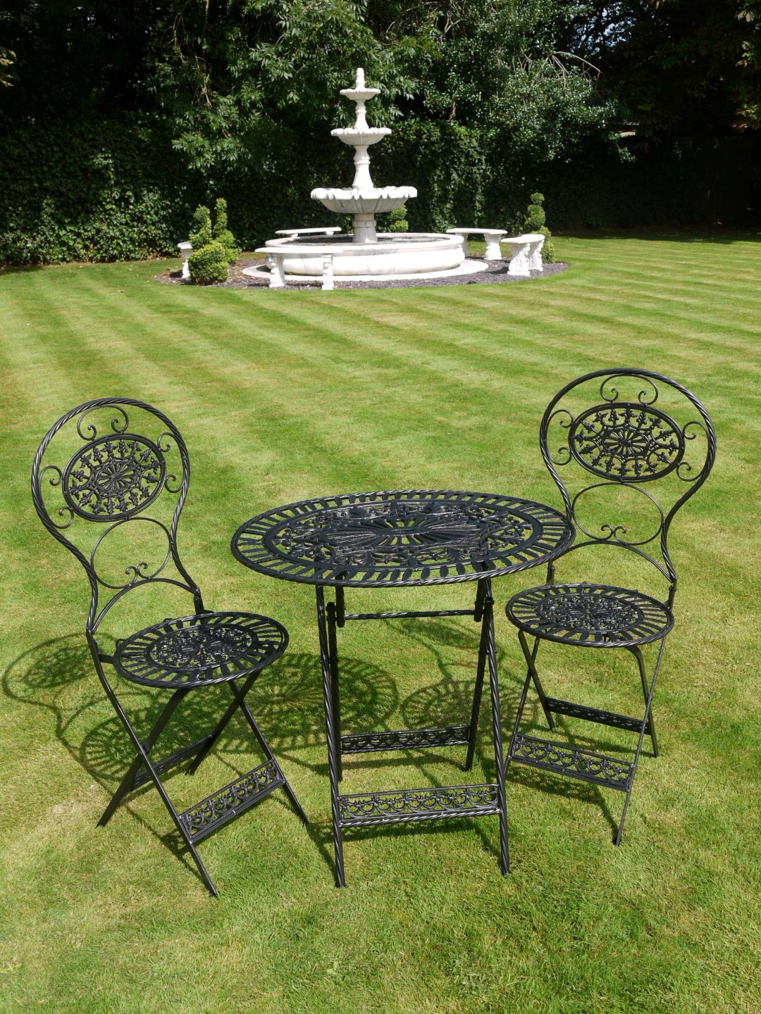 Vintage Style Black Wrought Iron 3 Piece Bistro Garden Furniture Set Divine Interiors And Gifts