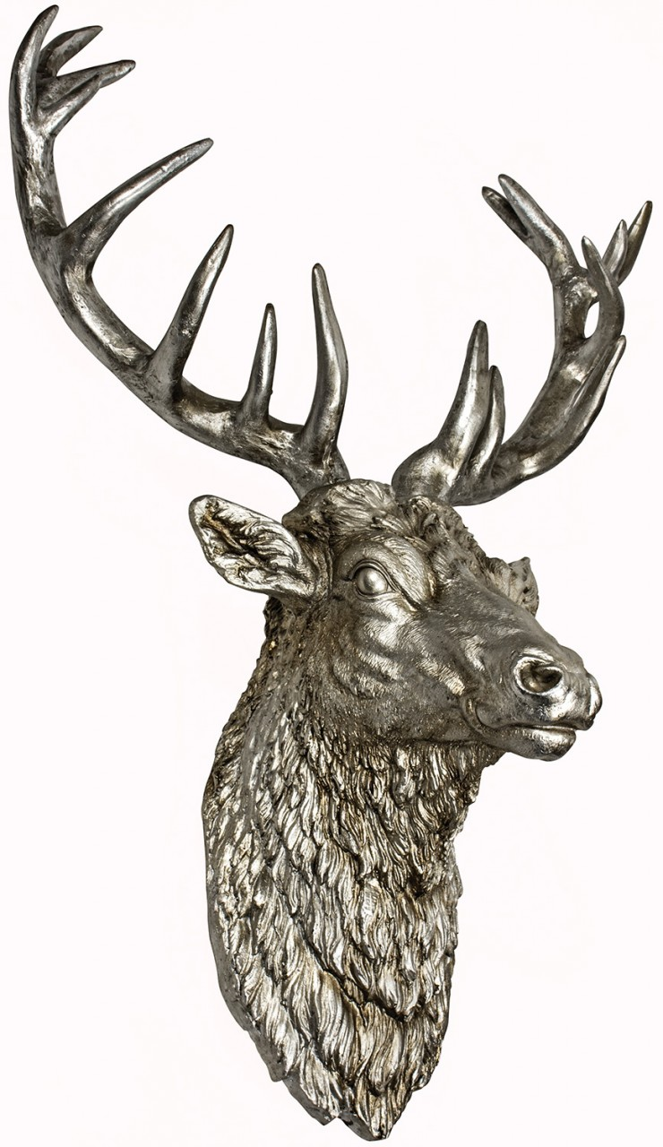 Large Wall Mounted Stags Head Antique Silver Effect Stag
