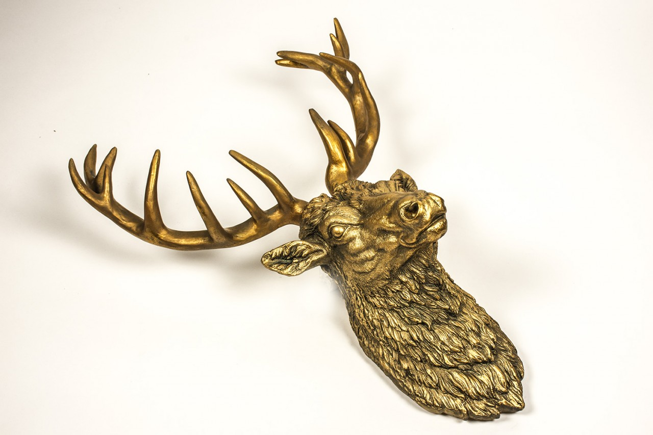 Large Wall Mounted Stags Head Antique Gold Effect Stag