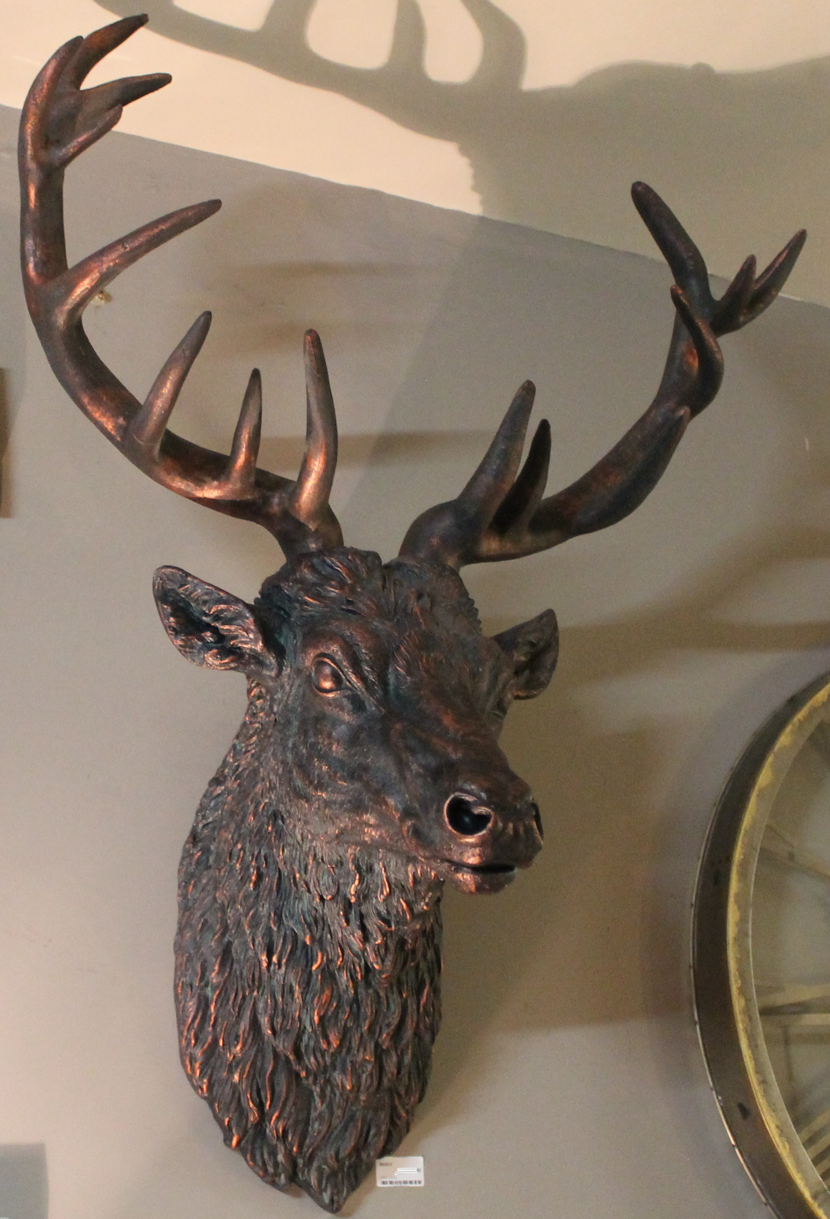 Large Wall Mounted Stags Head Antique Bronze Effect Stag