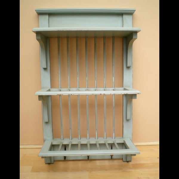 Country Style Duck Egg Blue Kitchen Wall Plate Rack